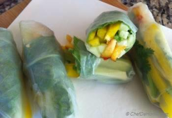 Step for Recipe - Cucumber Fresh Rolls with Peaches and Basil